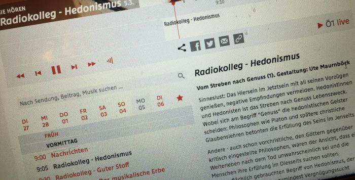 Barbara Zuschnig und Beatrix Roidinger im Radiokolleg zum Thema Hedonismus